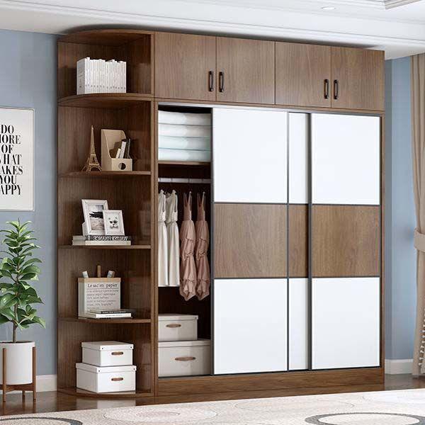 衣柜实木推拉门家用卧室家具简约现代出租房经济型简易移门大衣柜