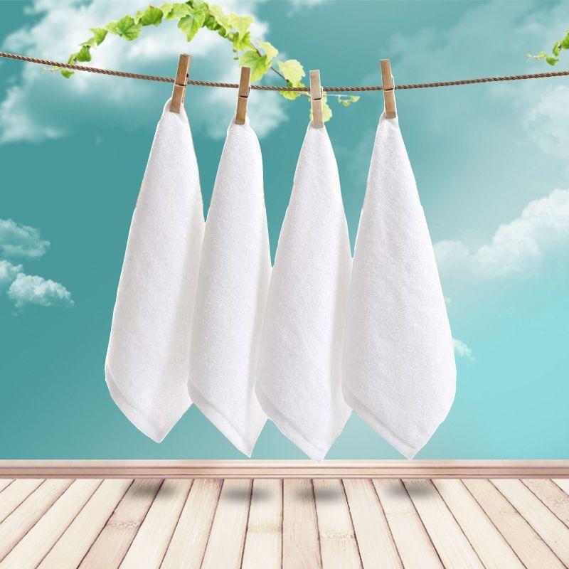 酒店宾馆全棉白色方巾小毛巾棉质白方巾擦手巾厂家直销加厚吸水