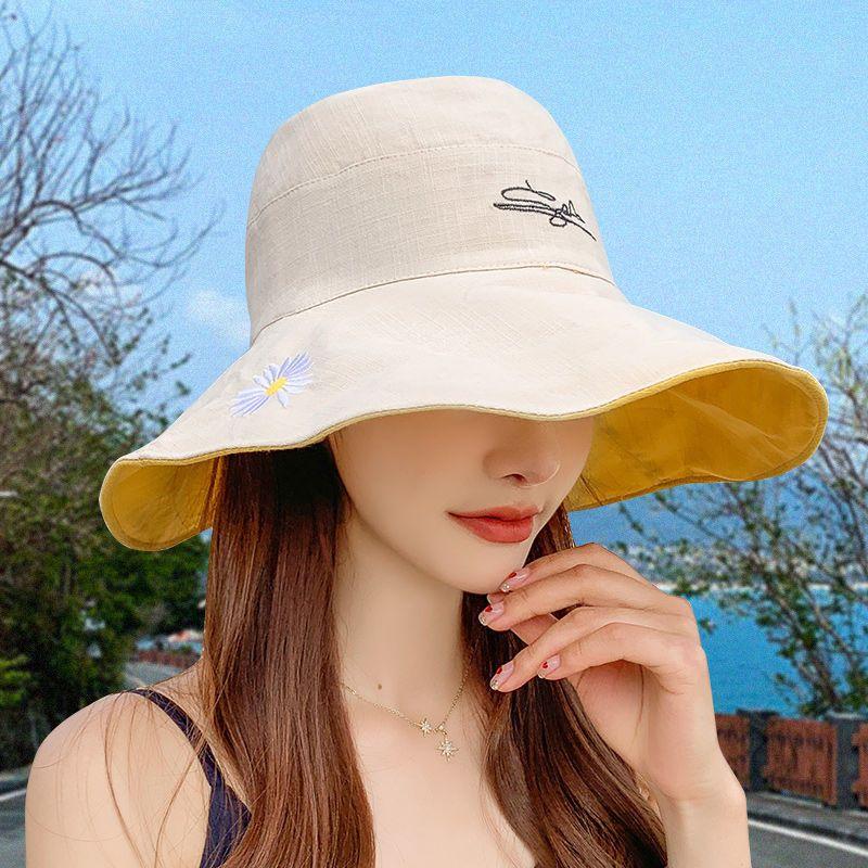 韩版双面小雏菊渔夫帽女夏天日系遮脸潮百搭遮阳大沿太阳防晒帽子
