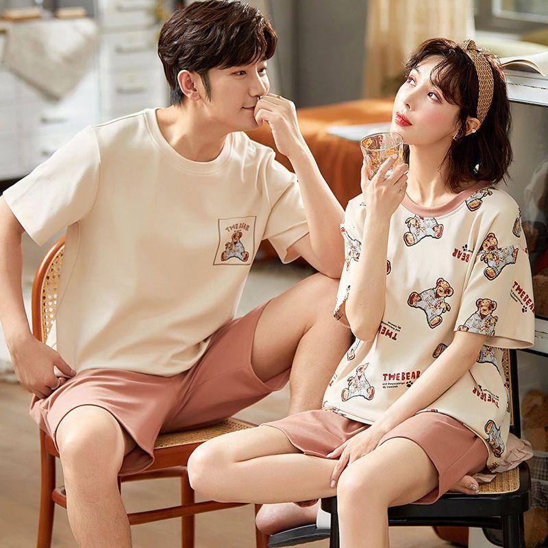 夏季纯棉短袖男女韩版薄款睡裙家居服套装