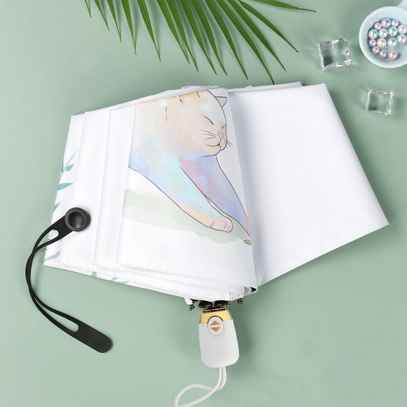 雨伞女晴雨两用全自动折叠防晒防紫外线遮阳伞插画可爱学生太阳伞