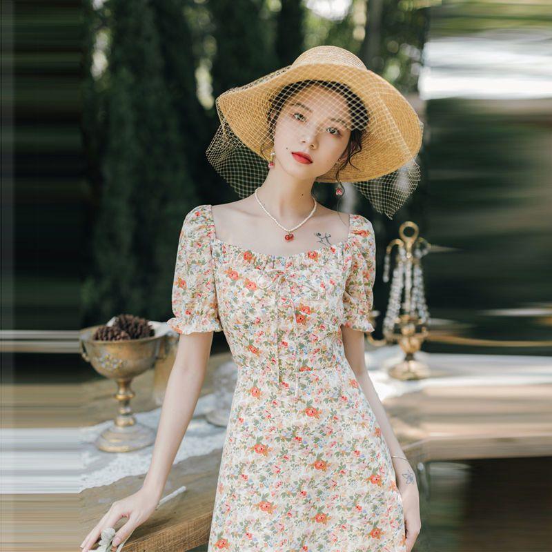 37860-复古法式方领雪纺短袖蝴蝶结系带碎花仙女连衣裙2021新款收腰显瘦-详情图