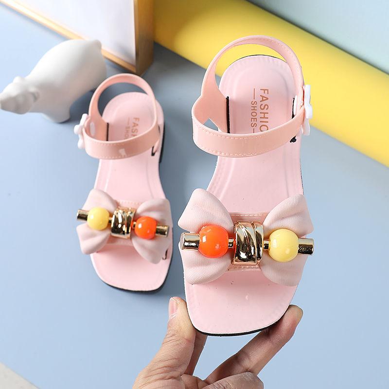 女童凉鞋2021夏季新款儿童女宝宝软底防滑花朵时尚糖果色公主童鞋