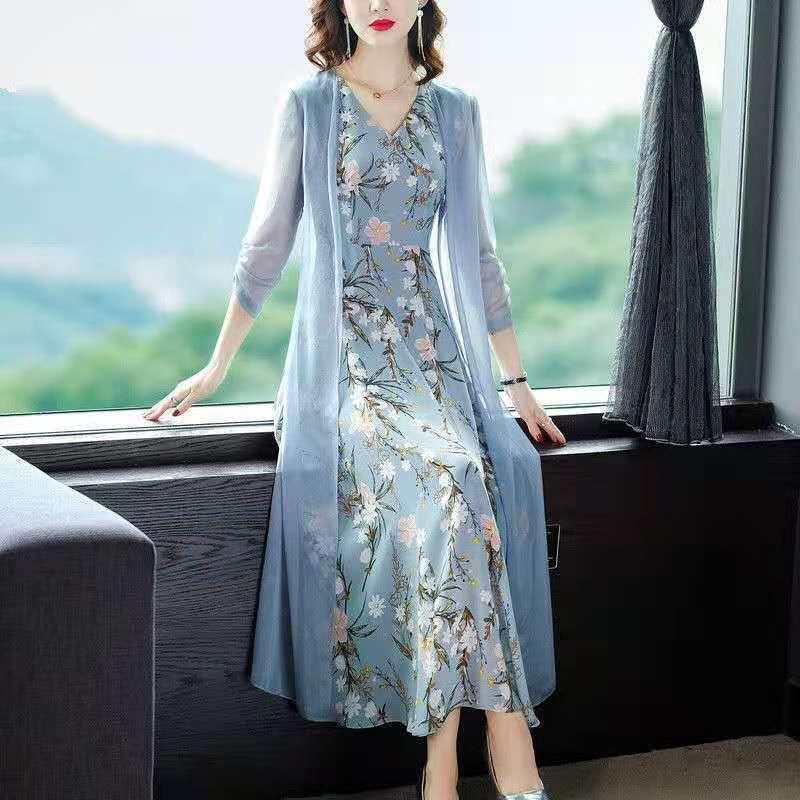热卖新款雪纺套装2021春夏新款女装时尚减龄修身收腰开衫印花背心