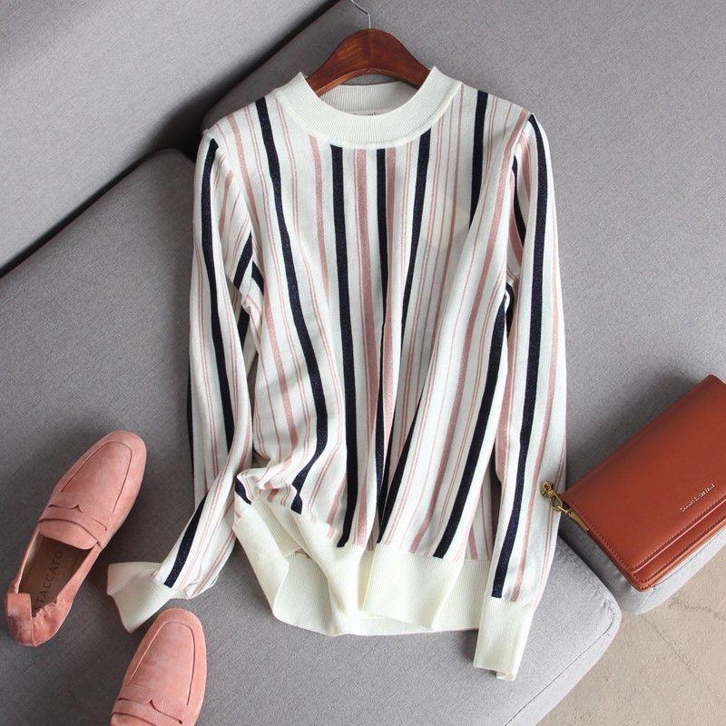 75774-显瘦有腔调 时尚撞色薄款长袖半高圆领竖条纹套头短针织衫打底衫-详情图
