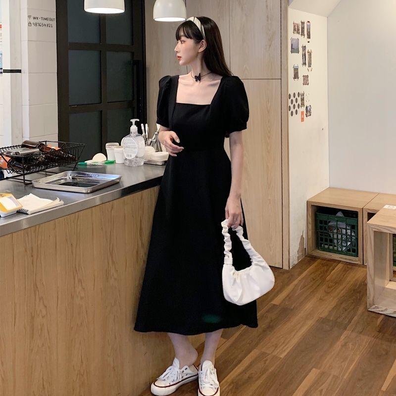 黑色连衣裙女2021夏装胖mm大码宽松气质方领过膝长款赫本风小黑裙