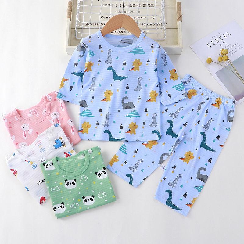 儿童家居服套装夏季薄款%100纯棉竹节棉空调服睡衣男童女童七分袖