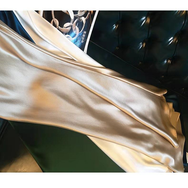 新款吊帶裙流行女裝夏季新款仿三醋酸連衣裙長款緞面吊帶裙