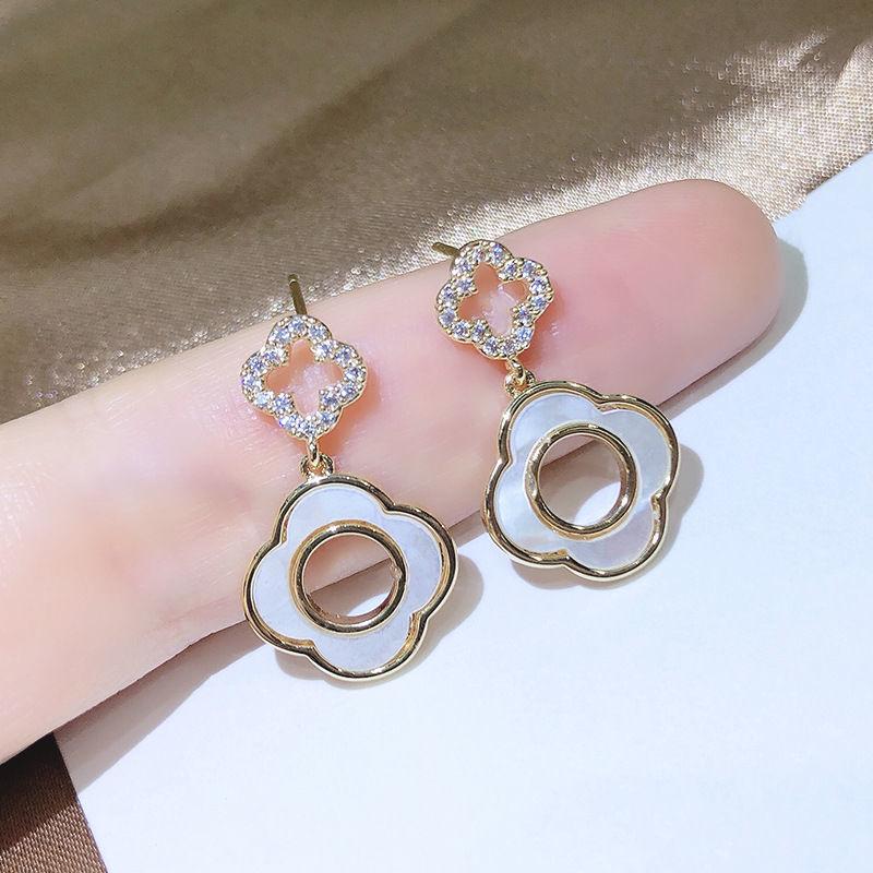 带钻四叶草耳钉女925纯银高级感耳环