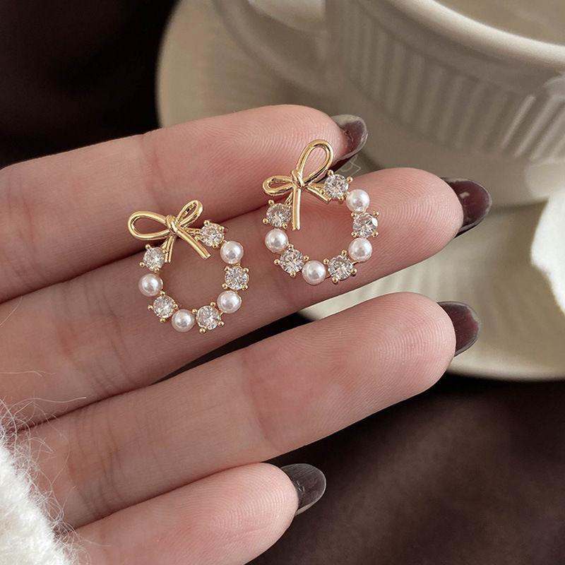 可爱蝴蝶结珍珠镶钻耳钉