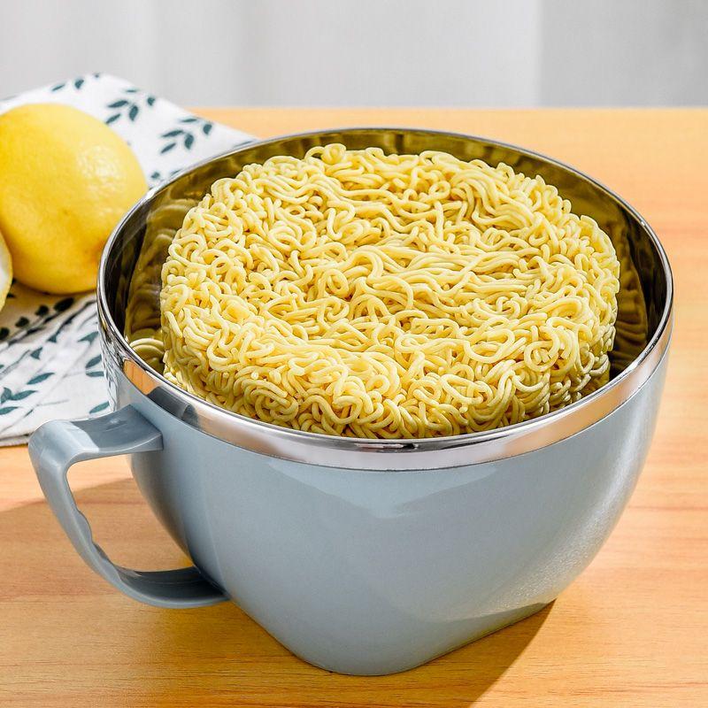 不锈钢泡面碗带盖学生宿舍方便面碗大号防烫汤杯大容量快餐饭盒