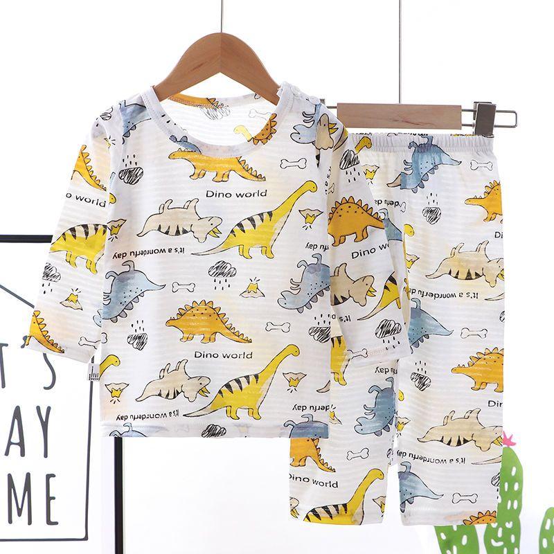 竹节棉儿童睡衣夏男女童家居服套装九分纯棉薄中小童空调服童夏装