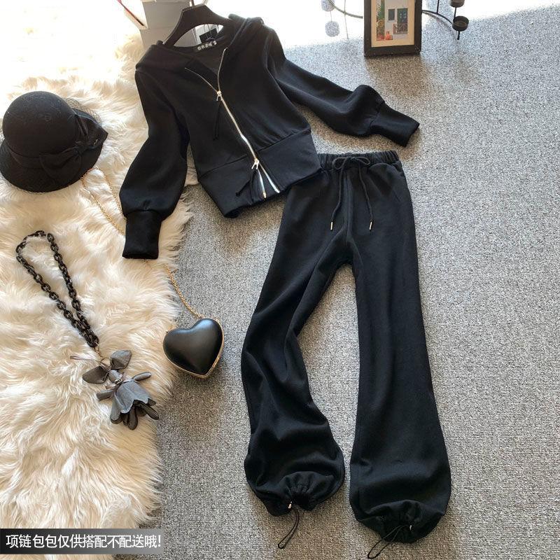 热卖新款大码女装2021春季新款套装女洋气减龄显瘦连帽卫衣休闲裤