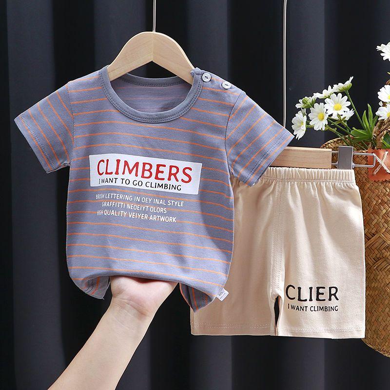儿童纯棉短袖套装0-8岁女宝宝T恤短裤两件套夏季小中大童男童套装