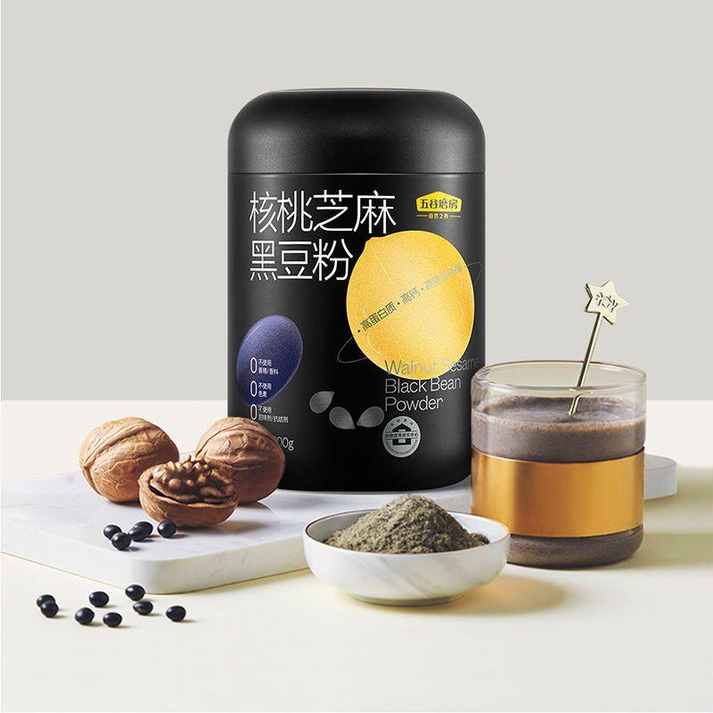 五谷磨房核桃芝麻黑豆粉600g黑之养代餐粉+食色玩味礼盒/食养杯