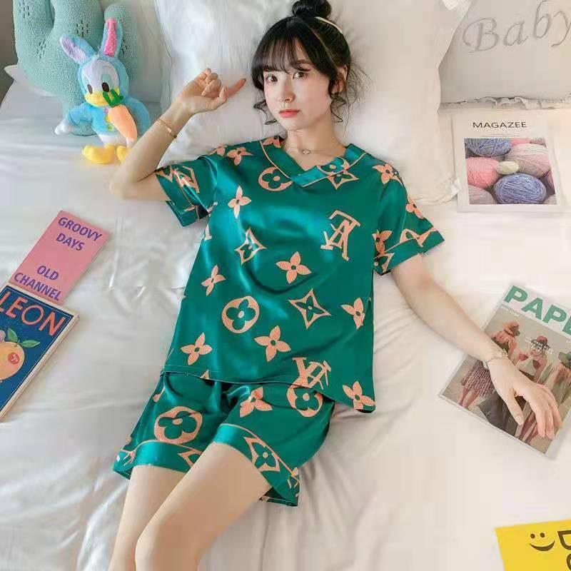 睡衣女夏冰丝短袖韩版家居服