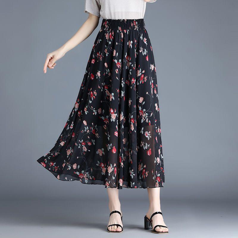 半身裙女夏季雪纺碎花a字裙百搭显高瘦身中长款下身短裙2021新款