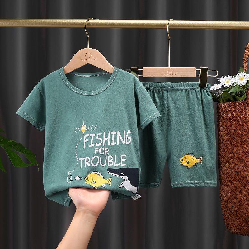 儿童纯棉短袖套装女童T恤男童短裤半袖夏装0-7岁婴儿宝宝夏天衣服