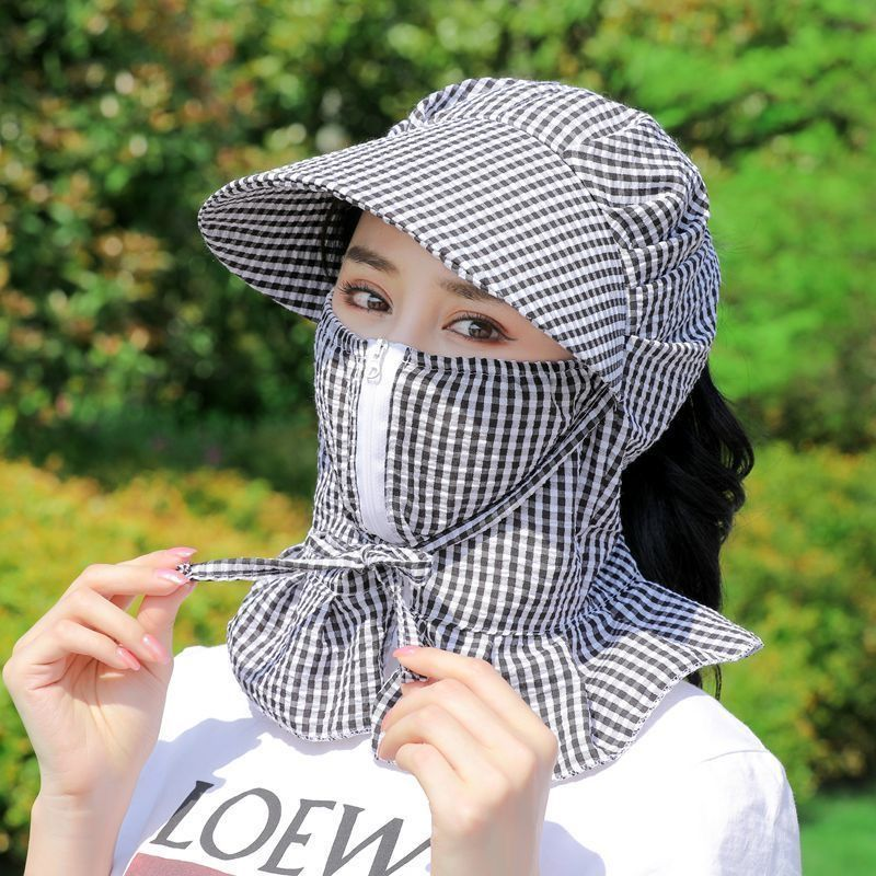 【台*灣】防曬口罩女護頸戴帽子騎車薄款防紫外線遮臉全臉可水洗遮陽透氣