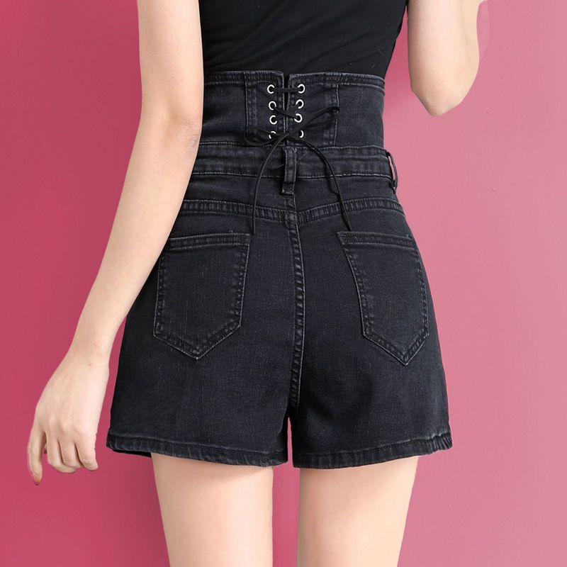 热卖新款黑色牛仔短裤女超高腰网红显瘦2021年夏季新款a字裤子女
