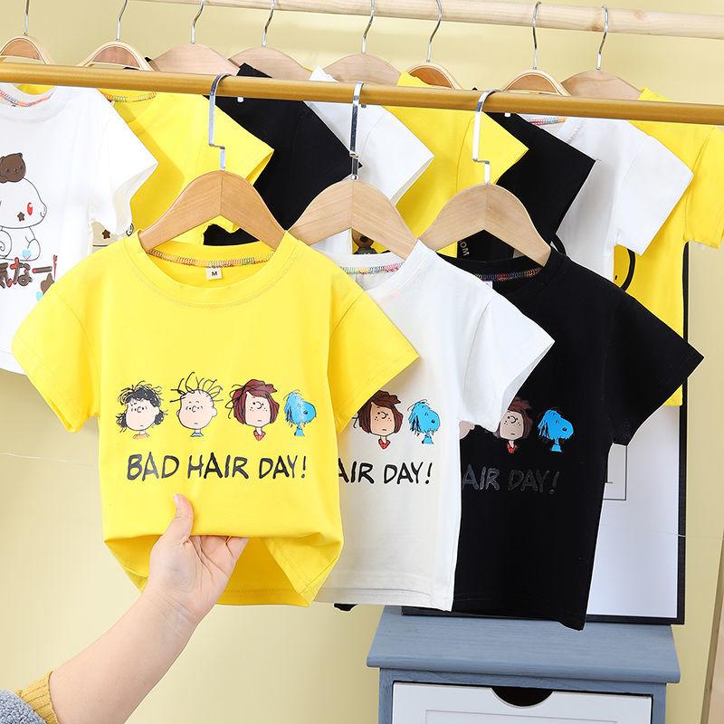 女童T恤短袖男中小童2021新款纯棉打底