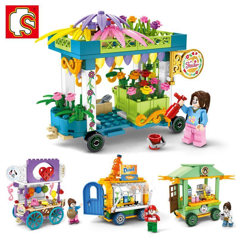 75915-森宝601101-08迷你街景移动售卖车外卖手推车益智小颗粒积木玩具-详情图