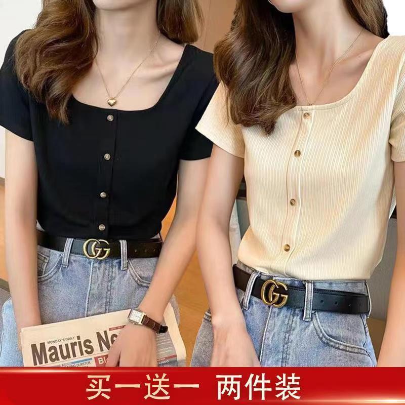 单件/两件 方领短袖T恤女夏短款2021年新款高腰紧身锁骨法式衣服