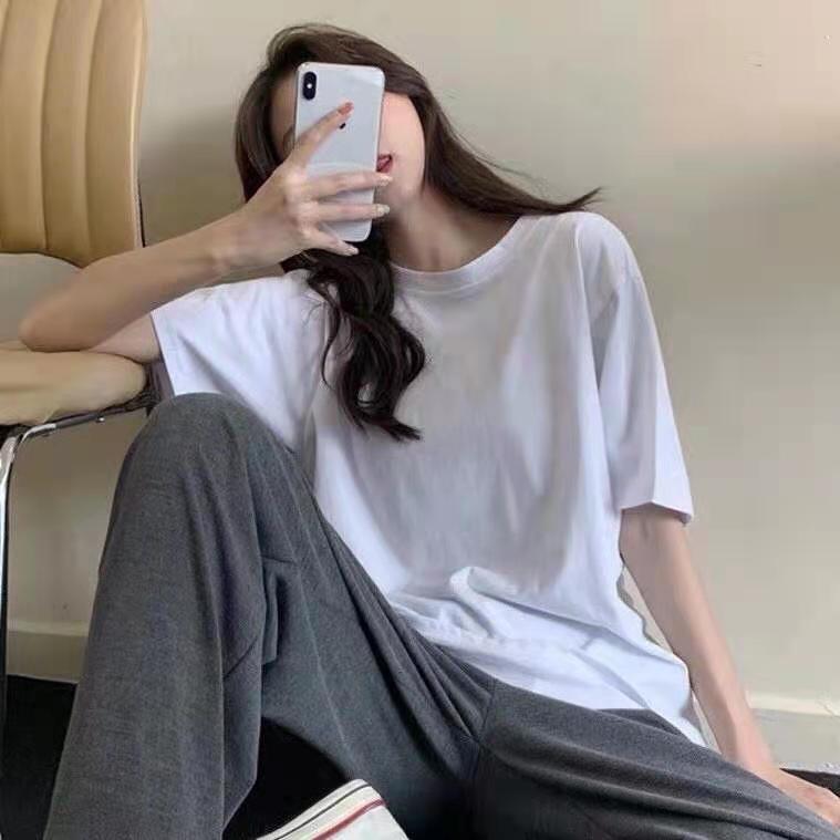 纯棉短袖t恤男女夏季白色短袖宽松上衣