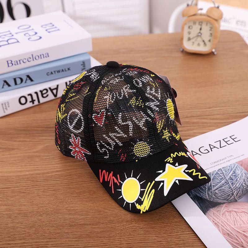 中大童帽子女童遮阳帽春夏男童鸭舌棒球帽3-6-7岁网格透气太阳帽