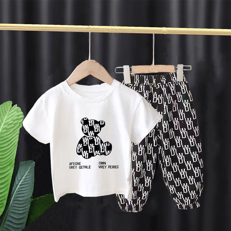 儿童短袖套装2021夏季新款男童女童