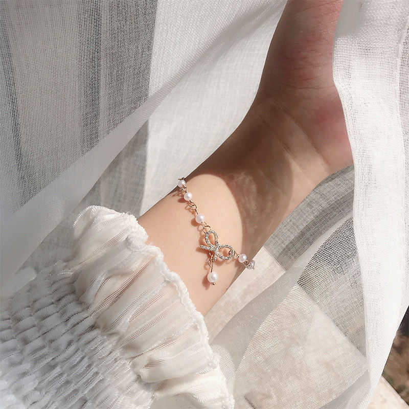 蝴蝶结珍珠手链女ins小众设计感简约手环