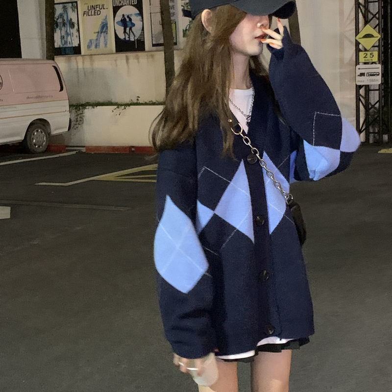 88852-长毛衣外套冬女蓝色宽松v领显瘦拼接格子甜美新款岁针织上衣开衫-详情图