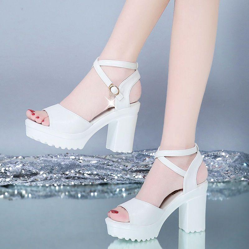 凉鞋女夏高跟粗跟厚底防水台新款韩版