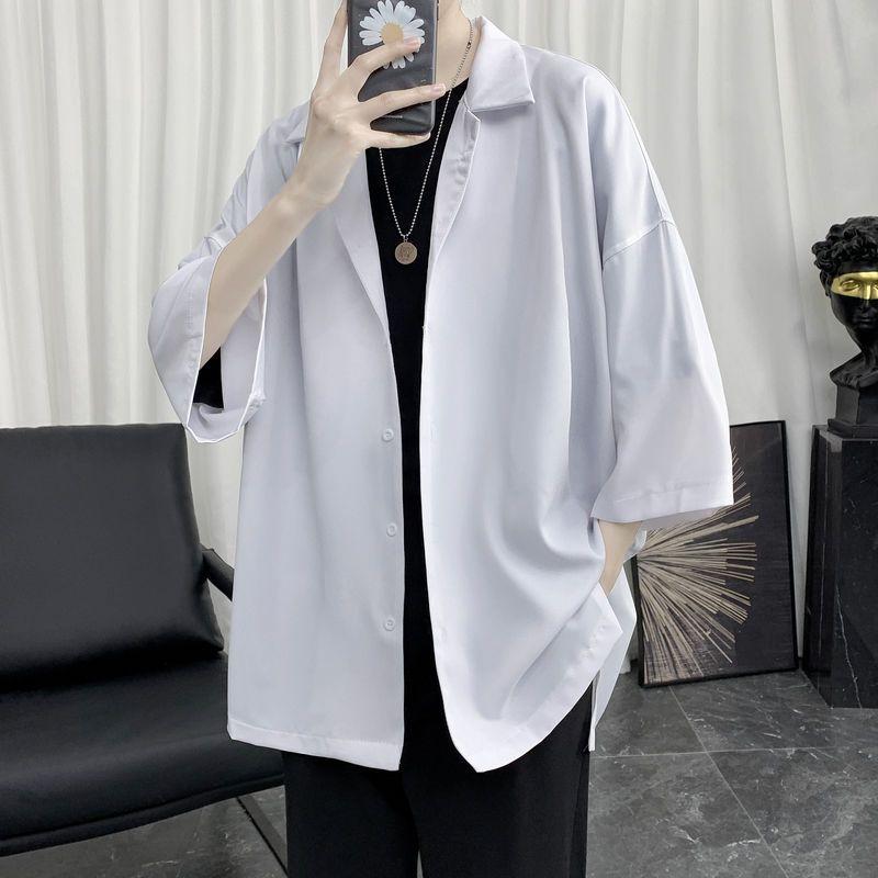 热卖新款【三件套】夏季短袖衬衫男简约韩版宽松痞帅衬衣休闲潮流