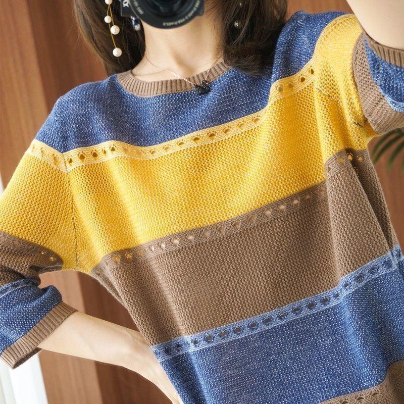 2021新款春夏女潮针织衫七分袖圆领拼色镂空大码女装T恤时尚宽松