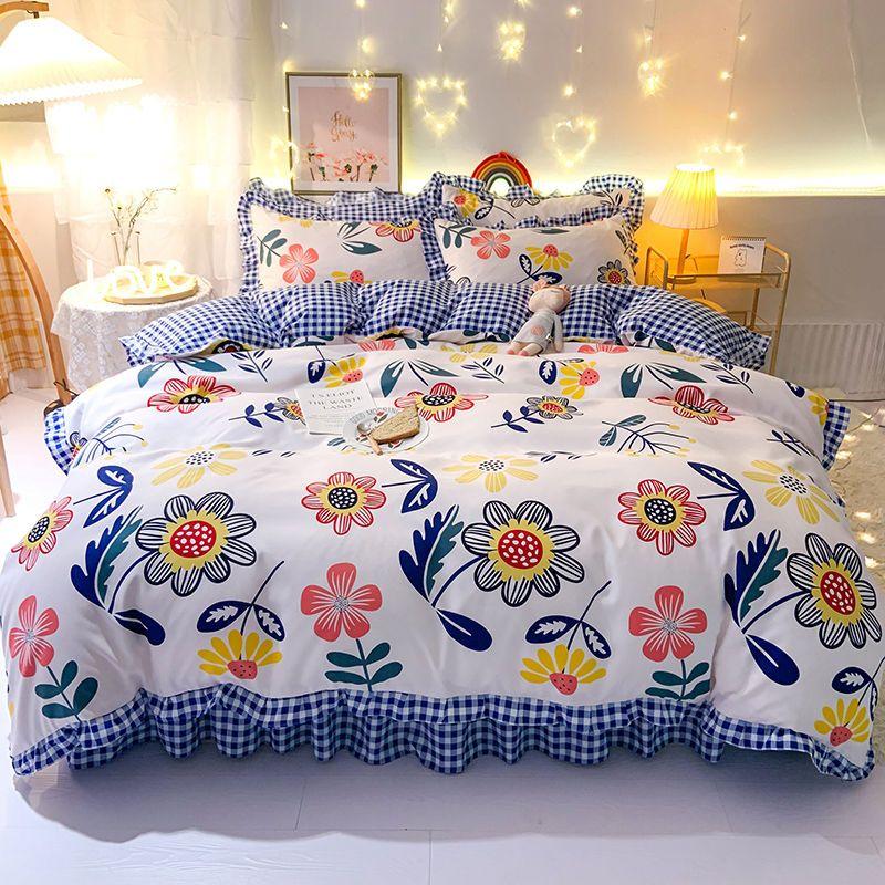 韩版公主风床裙款床单款植物羊绒四件套单人双人床单被套床上用品