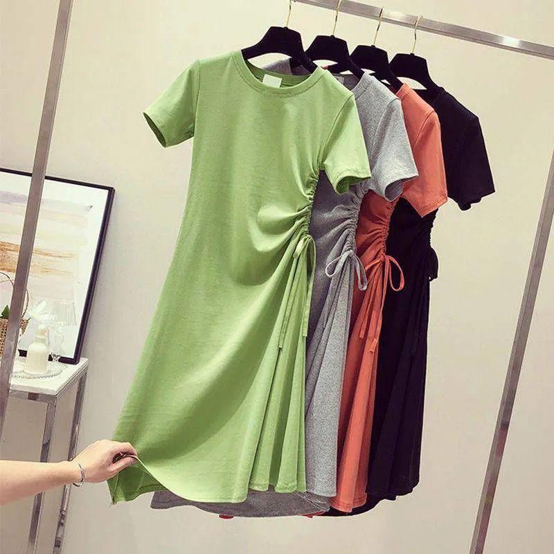 中长款牛油果绿抽绳褶皱韩版学生T恤裙子
