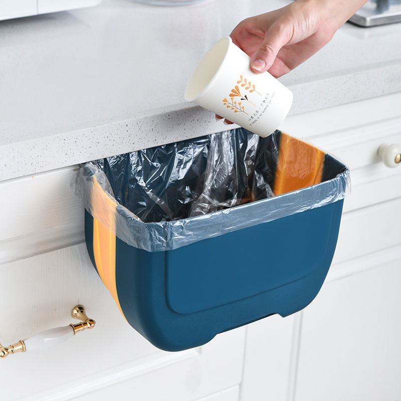 75746-厨房折叠垃圾桶家用橱柜门挂式厨余干湿分类车载客厅卫生间收纳-详情图