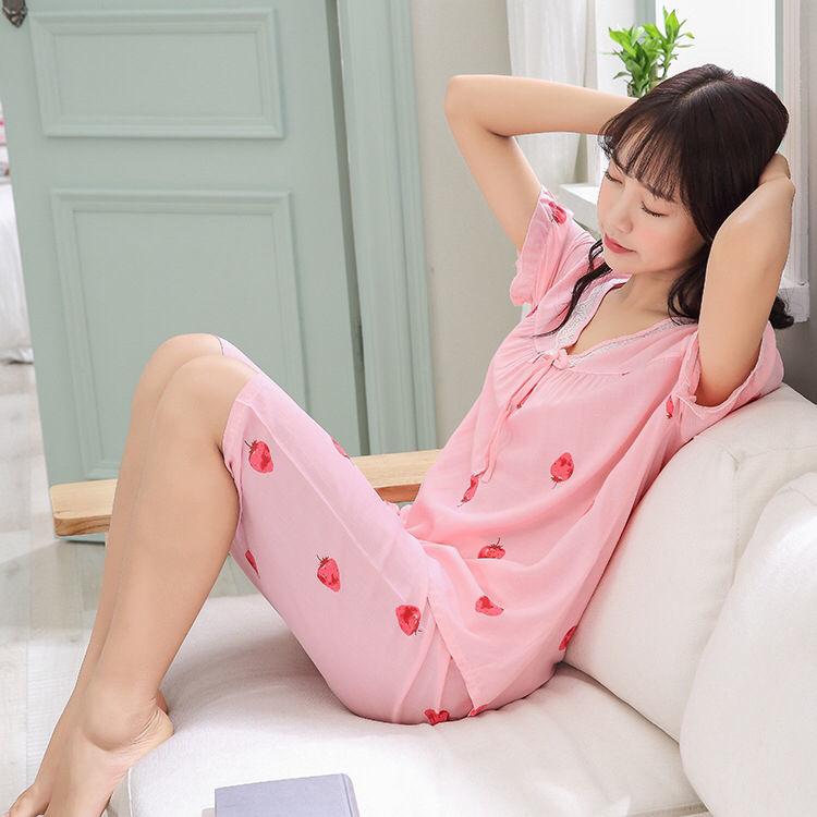 大人家居服短袖/中裤睡衣女睡衣套装