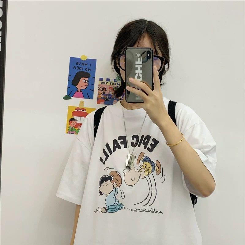 棉夏季新款短袖t恤女韩版复古原宿潮上衣