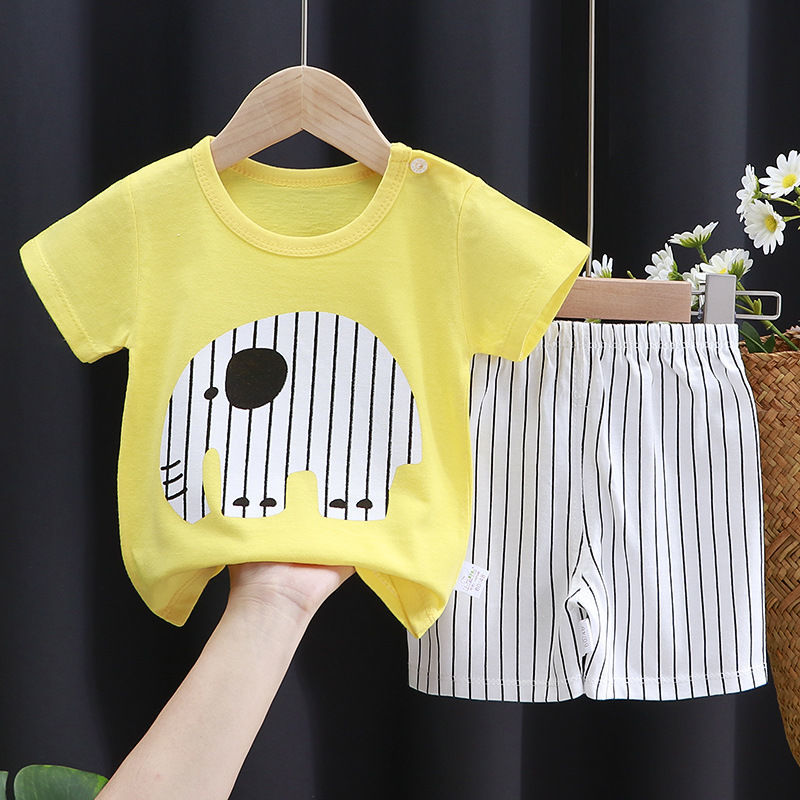 儿童短袖套装纯棉女童夏装男童t恤