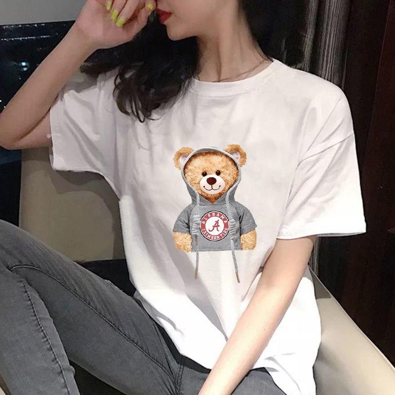 爆款情侣t恤男女2021春夏新款小熊短袖