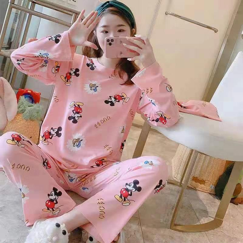 睡衣女秋冬韩版新款长袖甜美家居服两件套装