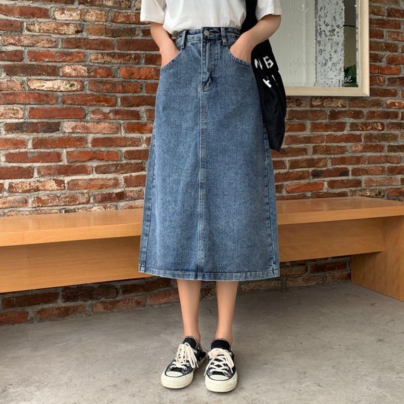 热卖新款港风牛仔裙春夏2021新款女装开叉半身裙中长款女高腰包臀