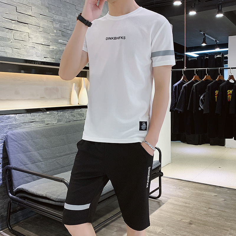 运动套装男夏季大码冰丝休闲宽松短袖短裤男