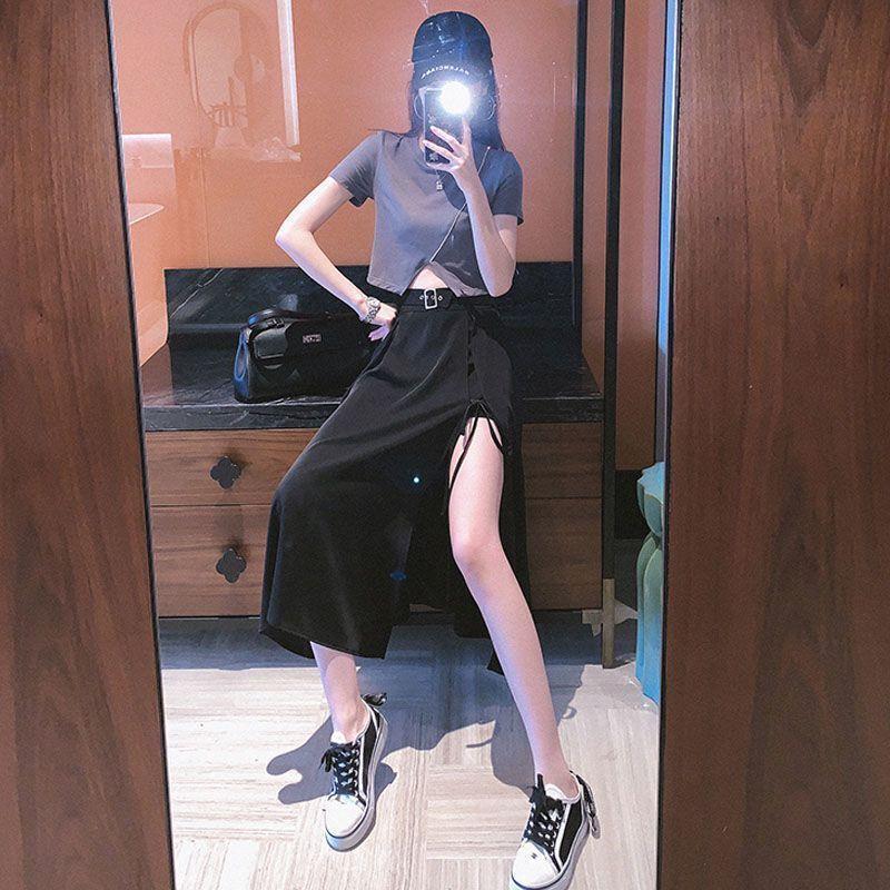 54245-夏季新款赫本风半身裙套装i炸街气质减龄小T恤搭配开叉a字包臀裙-详情图