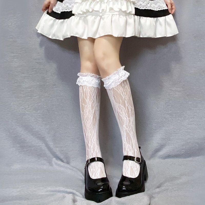 长筒蕾丝花边袜子女薄洛丽塔白色可爱JK中筒袜ins潮小腿袜白丝袜