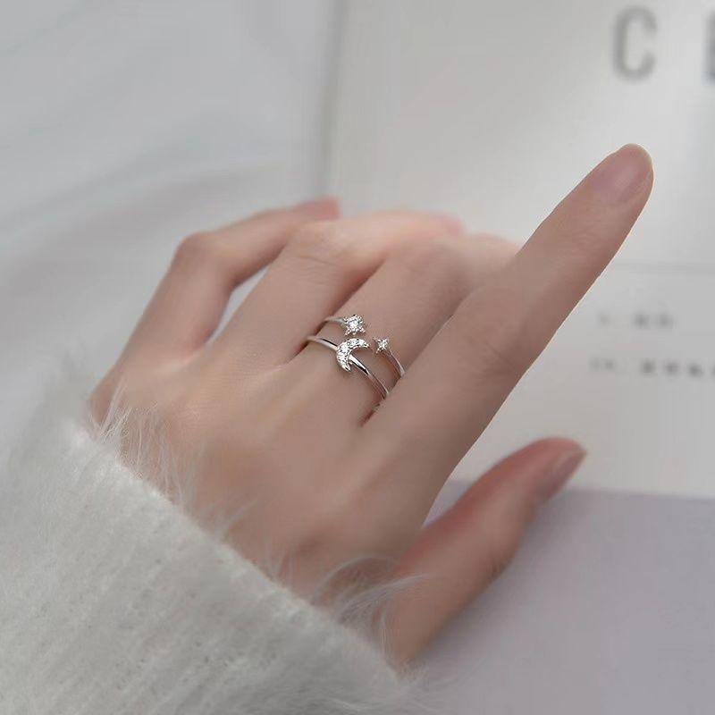 s925戒指女ins不掉色时尚戒指女超仙高级感冷淡双层活口食指中戒