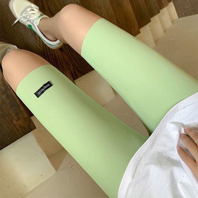 夏季冰丝打底裤女可外穿五分裤紧身高腰短裤