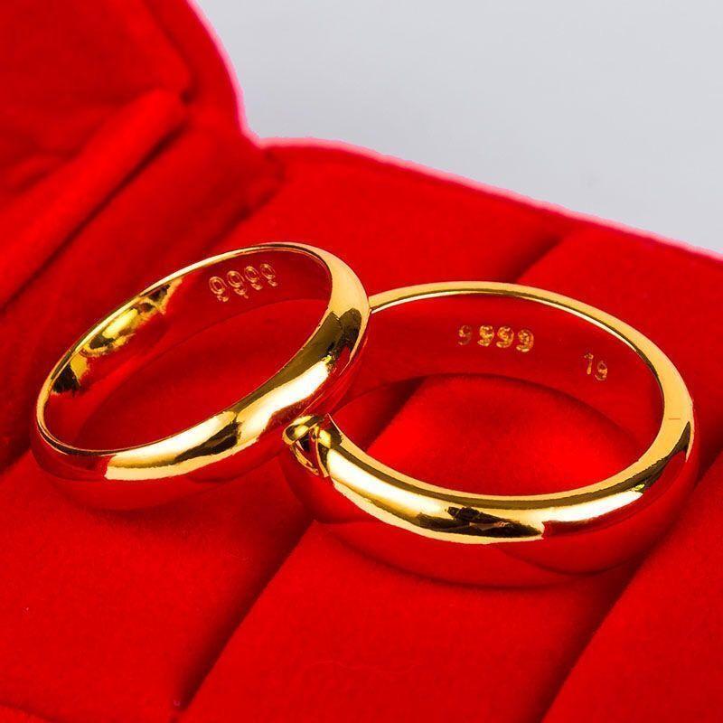 真金戒指六字真言招财开口拉丝戒指男女同款